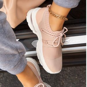 Shoes - New soft pink & white sneakers